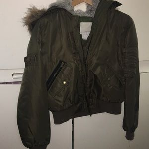 Zara bomber jacket with fur trim hood!